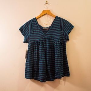 Free People Blue/Teal Short Sleeve Striped Sweater